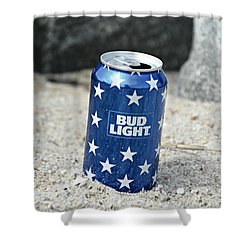 Blue Bud Light Shower Curtain