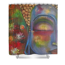 Shower Curtain featuring the painting Buddha In Blue Meditating  by Prerna Poojara