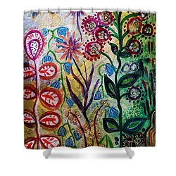 Blue Bug In The Magic Garden Shower Curtain