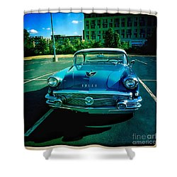 Shower Curtain featuring the mixed media Blue Buick by Terry Rowe