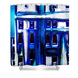 Blue Buildings Shower Curtain