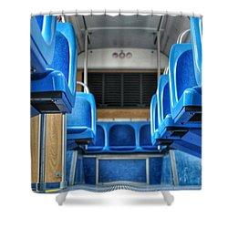 Blue Bus Seats Shower Curtain