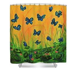 Blue Butterflies In Early Morning Garden Shower Curtain