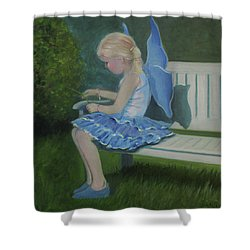 Blue Butterfly Girl Shower Curtain