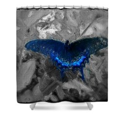 Blue Butterfly In Charcoal And Vibrant Aqua Paint Shower Curtain by MendyZ