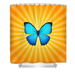 Blue Butterfly Sun Shower Curtain