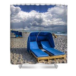 Blue Cabana Shower Curtain by Debra and Dave Vanderlaan