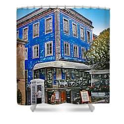 Blue Cafe On The Corner Shower Curtain
