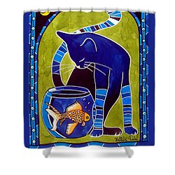 Shower Curtain featuring the painting Blue Cat With Goldfish by Dora Hathazi Mendes