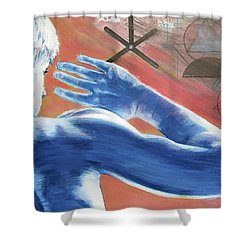 Shower Curtain featuring the painting Blue Celestial  by Rene Capone