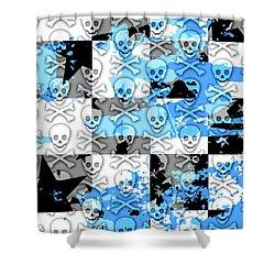 Blue Checker Skull Splatter Shower Curtain