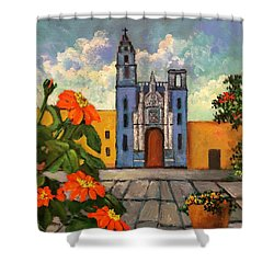 Blue Church   Iglesia Azul Shower Curtain