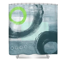 Blue Circles 1- Art By Linda Woods Shower Curtain