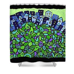 Blue City On A Hill Shower Curtain by Wayne Potrafka