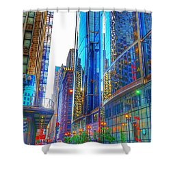 Shower Curtain featuring the photograph Blue Cityscape by Marianne Dow