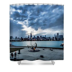 Blue Clouds And Chicago Skyline Shower Curtain
