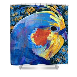Shower Curtain featuring the painting Blue Cockatiel by Donald J Ryker III