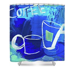 Blue Coffee Shower Curtain