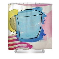 Blue Coffee Mug Shower Curtain by Amara Dacer