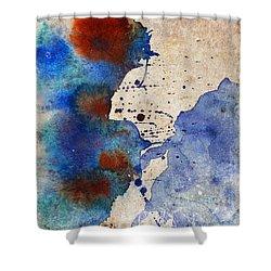 Blue Color Splash Shower Curtain