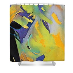 Shower Curtain featuring the painting Blue Concerto by Rae Andrews