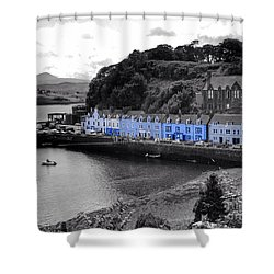 Blue Cottages At Portree Harbour 5 Shower Curtain
