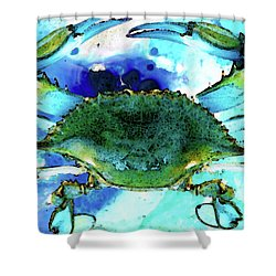 Blue Crab - Abstract Seafood Painting Shower Curtain