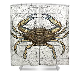 Blue Crab Shower Curtain by Charles Harden