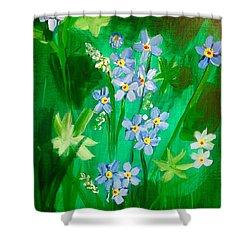 Blue Crocus Flowers Shower Curtain
