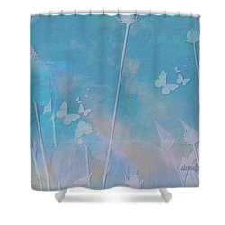 Blue Daisies And Butterflies Shower Curtain by Sherri's Of Palm Springs
