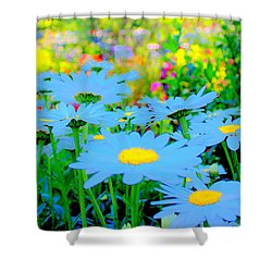 Blue Daisy Shower Curtain by Terence Morrissey