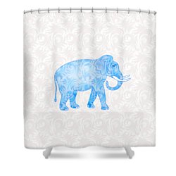 Blue Damask Elephant Shower Curtain