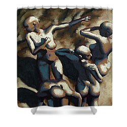 Blue Dancers Shower Curtain by Leo Mazzeo