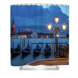 Shower Curtain featuring the photograph Blue Dawn Over Venice by Brian Jannsen