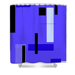 Blue Design 1 Vertical Shower Curtain