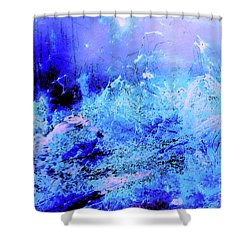 Blue Digital Artwork With Dots And Stripes And Sandstone Finish Shower Curtain