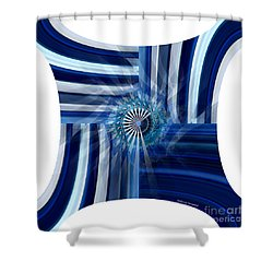 Blue Dimension  Shower Curtain by Thibault Toussaint
