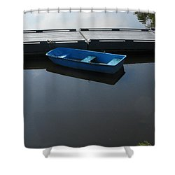 Blue Dinghy Quiet Waters Shower Curtain