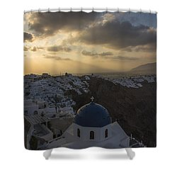 Blue Dome - Santorini Shower Curtain