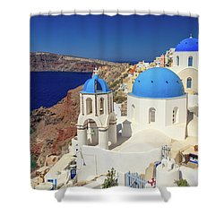 Blue Domed Churches Shower Curtain