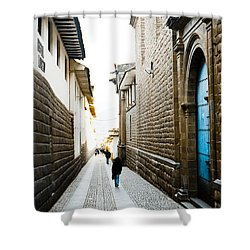 Blue Door In Cusco Shower Curtain by Darcy Michaelchuk