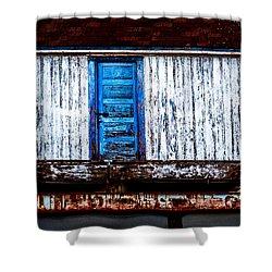 Blue Door Old Mill Building Shower Curtain