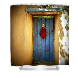 Shower Curtain featuring the photograph Blue Door With Chiles by Joseph Frank Baraba