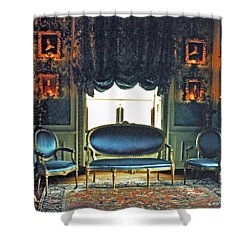 Blue Drawing Room Shower Curtain by DigiArt Diaries by Vicky B Fuller