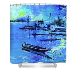 Shower Curtain featuring the painting Blue Dream 2 by Anil Nene