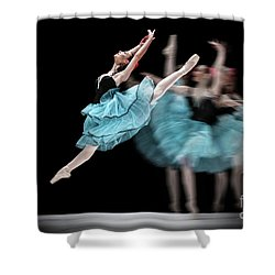 Shower Curtain featuring the photograph Blue Dress Dance by Dimitar Hristov