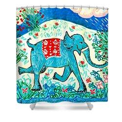 Blue Elephant Facing Right Shower Curtain by Sushila Burgess