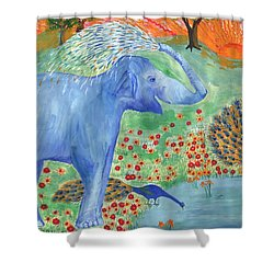Blue Elephant Squirting Water Shower Curtain by Sushila Burgess