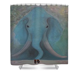 Blue Elephant Shower Curtain
