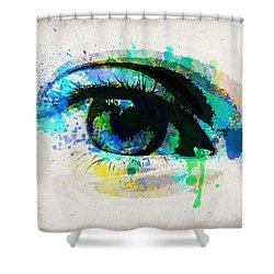 Blue Eye Watercolor Shower Curtain